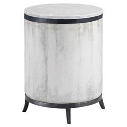 Samson Industrial Round Zinc Concrete Outdoor End Table | Kathy Kuo Home
