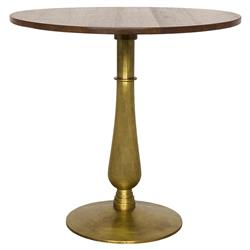 Samuel Modern Classic Round Dark Walnut Gold Metal Side End Table | Kathy Kuo Home