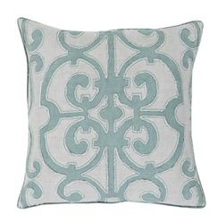 Sandra French Country Linen Down Teal Pillow - 18x18 | Kathy Kuo Home