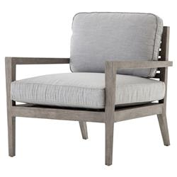 Sanford Rustic Modern Outdoor Grey Cushioned Wood Arm Chair | Kathy Kuo Home