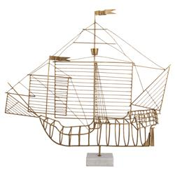 Santa Maria Gold Metal Marble Ship Sculpture | Kathy Kuo Home