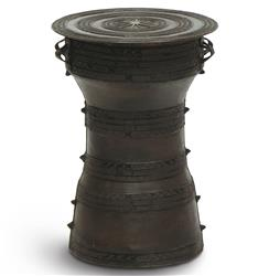 Santino Global Bazaar Small Bronze Rain Drum Side Table | Kathy Kuo Home