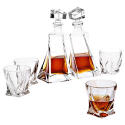 Sapphire Classic Crystal Glass Decanter - Set of 6 | Kathy Kuo Home