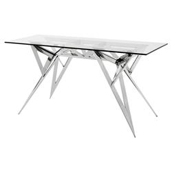 Saratoga Modern Classic Glass Tapered Leg Rectangular Console Table | Kathy Kuo Home