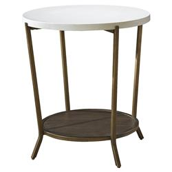Sasha Modern Classic White Stone Top Brown Metal Round Side End Table | Kathy Kuo Home