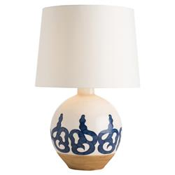 Saul Bazaar Indigo Artisan Ivory Ceramic Table Lamp | Kathy Kuo Home