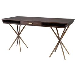 Saunders Modern Classic Dark Walnut Antique Brass Desk | Kathy Kuo Home