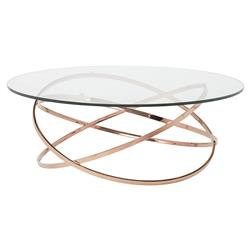 Savannah Modern Classic Rose Gold Glass Coffee Table | Kathy Kuo Home