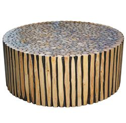 Sawney Rustic Lodge Reclaimed Wood Round Coffee Table | Kathy Kuo Home