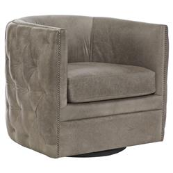 Sawyer Modern Classic Grey Leather Round Swivel Chair | Kathy Kuo Home