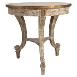 Sayer French Rustic Gilt Ivory Wood End Table | Kathy Kuo Home