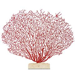 Scarlet Grand Fan Coral Sculpture with Limestone Base | Kathy Kuo Home