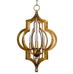 "Scarlett Hollywood Regency Gold Leaf Pattern Pendant Chandelier - 12""D"
