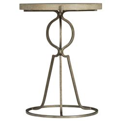 Scarlett Rustic Lodge Light Wood Iron Base Round Side End Table | Kathy Kuo Home