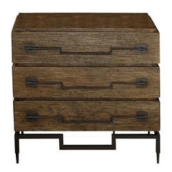 Scott Industrial Loft Three Drawer Dark Mango Wood Dresser | Kathy Kuo Home