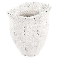 Seal Modern Coastal Beach Wide Mouth White Ceramic Vase | Kathy Kuo Home