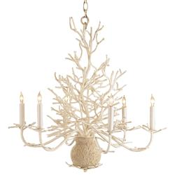 Seasong White Coral Vintage Chic Coastal Chandelier | Kathy Kuo Home