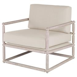 Secor Modern White Oak Arm Chair - Snow Velvet | Kathy Kuo Home