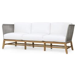 Serena Modern Grey Rope Woven Teak Outdoor Sofa - Salt | Kathy Kuo Home