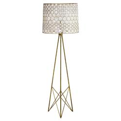Serena Oly Antique Gold Capiz Shell Floor Lamp | Kathy Kuo Home