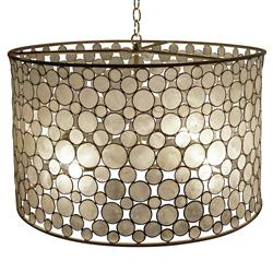 Serena Oly Natural Brass Capiz Drum Chandelier | Kathy Kuo Home