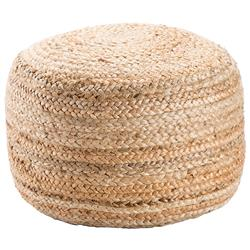 Sheila Coastal Beach Natural Jute Round Pouf | Kathy Kuo Home