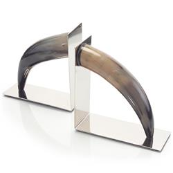 Sidon Global Bazaar Tan Black Natural Horn Nickel Bookends | Kathy Kuo Home