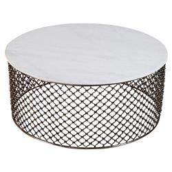 Sigrid Global White Marble Iron Coffee Table | Kathy Kuo Home