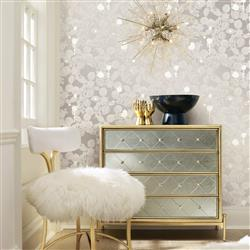 Silver Sparkle Modern Classic Removable Wallpaper | Kathy Kuo Home