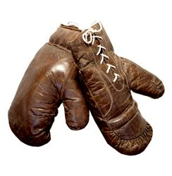 Silver dome Vintage Leather Boxing Gloves Wall Decor | Kathy Kuo Home