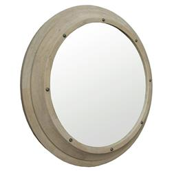 Skye Coastal Washed Grey Elm Porthole Mirror - 42 Inch | Kathy Kuo Home