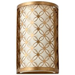 Small Round Lattice Antique Brass Metal Filigree Wall Sconce