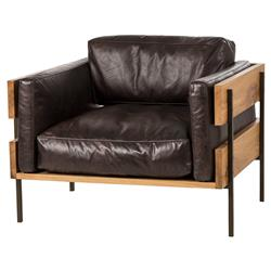 Smithers Industrial French Oak Espresso Leather Club Chair | Kathy Kuo Home