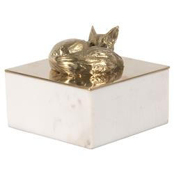 Sneaky Gold Fox White Marble Decorative Box | Kathy Kuo Home