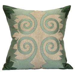 Soft Sage Scroll Beige Linen Pillow - 24x24 | Kathy Kuo Home