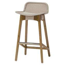 Sol Coastal Beach Beige Rope Teak Counter Stool | Kathy Kuo Home