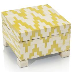 Solana Coastal Beach Yellow Cream Bone Geometric Mosaic Box | Kathy Kuo Home