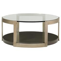 Sonja Industrial Loft Gold Metal Round Glass Coffee Table | Kathy Kuo Home