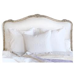 Sophia French Country Silver Two Tone Louis XV Upholstered Queen Headboard