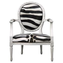 Sophie Oly Antique White Zebra Armchair | Kathy Kuo Home