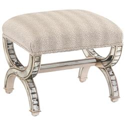 Spacek Hollywood Regency Silver Antique Mirror Spotted Stripes Ottoman | Kathy Kuo Home