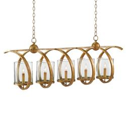 Spiro Antique Brass Spiral Iron Modern Island Chandelier | Kathy Kuo Home