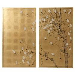 Spring Magnolias Hollywood Regency Hand Gilt Background Japanese Tree Painting | Kathy Kuo Home