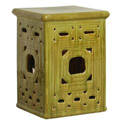 Square Lattice Pierced Garden Seat Stool- Antique Yellow Green Glaze | Kathy Kuo Home