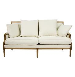 St. Germain French Country Natural Oak Louis XVI White Sofa | Kathy Kuo Home
