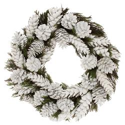 St Nick Preserved Green Cedar and White Pinecones Wreath - 18"