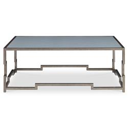 Staccato Silver Lattice Faux Shagreen Sky Coffee Table | Kathy Kuo Home