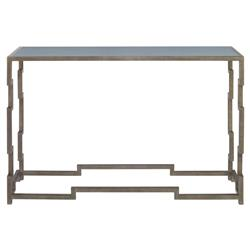 Staccato Silver Lattice Faux Shagreen Sky Console Table | Kathy Kuo Home
