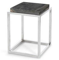 Stagedoor Industrial Loft Petrified Wood Small Square Side Table | Kathy Kuo Home