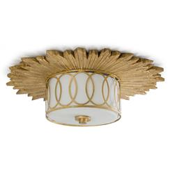 Stanwyck Hollywood Mirror Glass Flush Ceiling Mount Fixture | Kathy Kuo Home